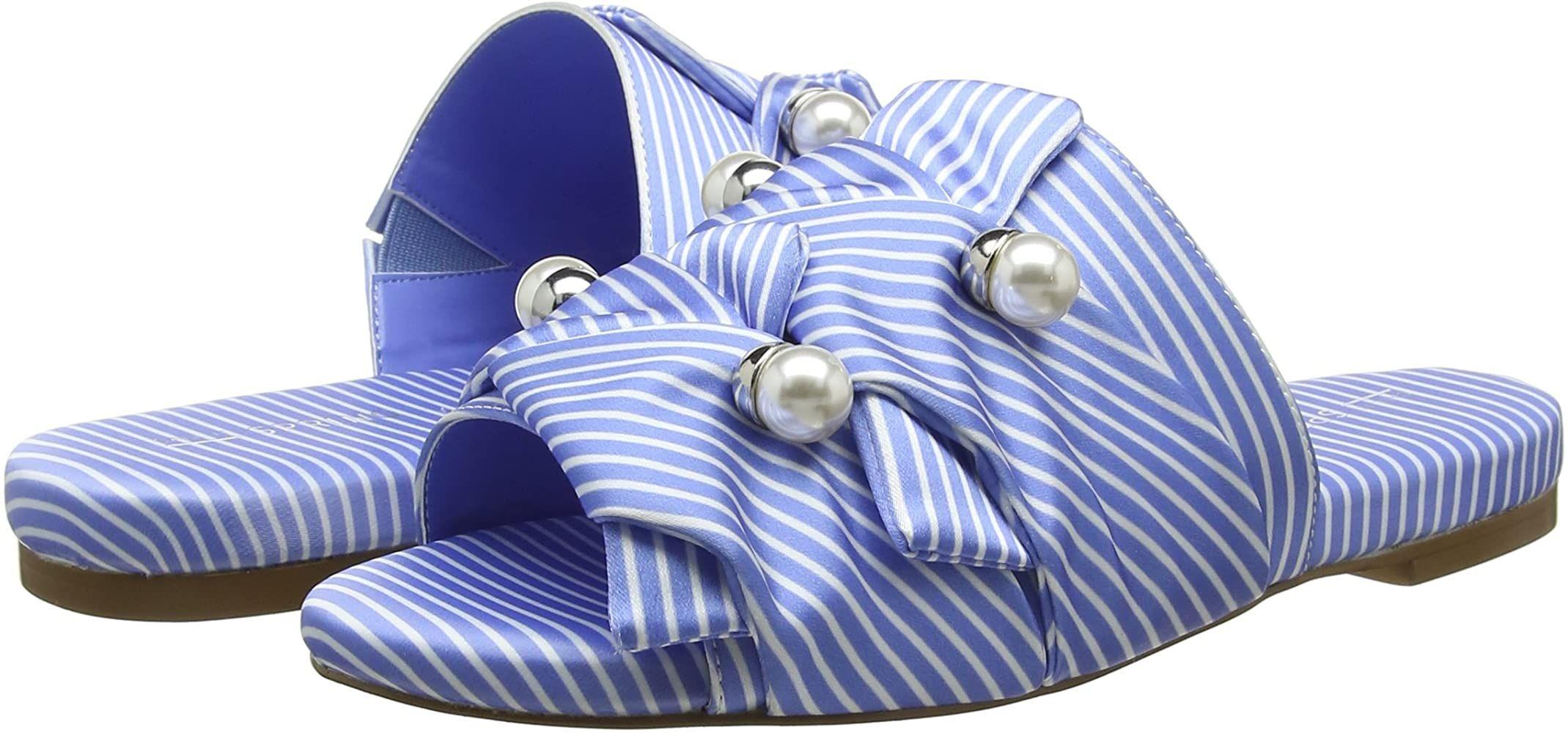 TALLA 37 - Sandalia plana para mujer con púas, pliegues y perlas