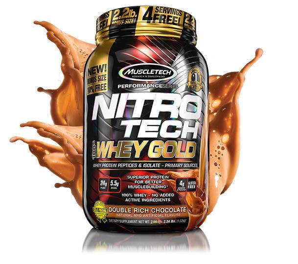 MuscleTech 100% Whey Gold NitroTech - 2.5KG Proteína 100% suero (Chocolate y Cookies & Cream) + Envío gratis
