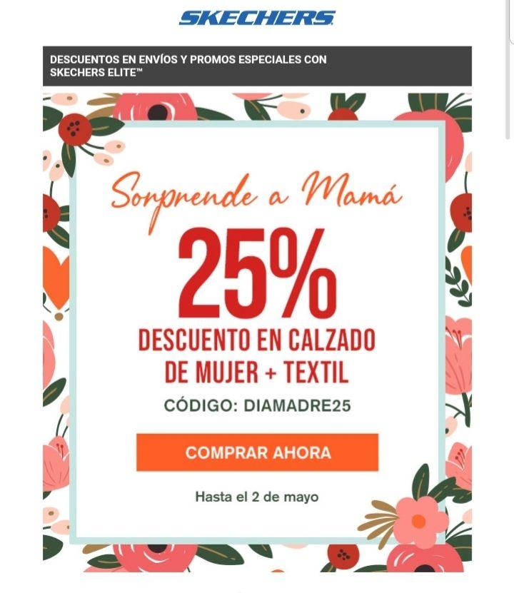 25 % descuento Skechers en calzado y textil