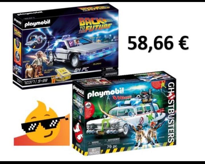 PLAYMOBIL DeLorean + Cazafantasmas ECTO-1 por 58,66 euros!!!