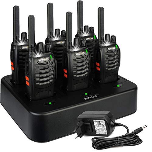 6 walkies Retevis H777 recagables + 6 baterías de litio de 1000 mAh + 6 Clip de cinturón y 1 cargador múltiple