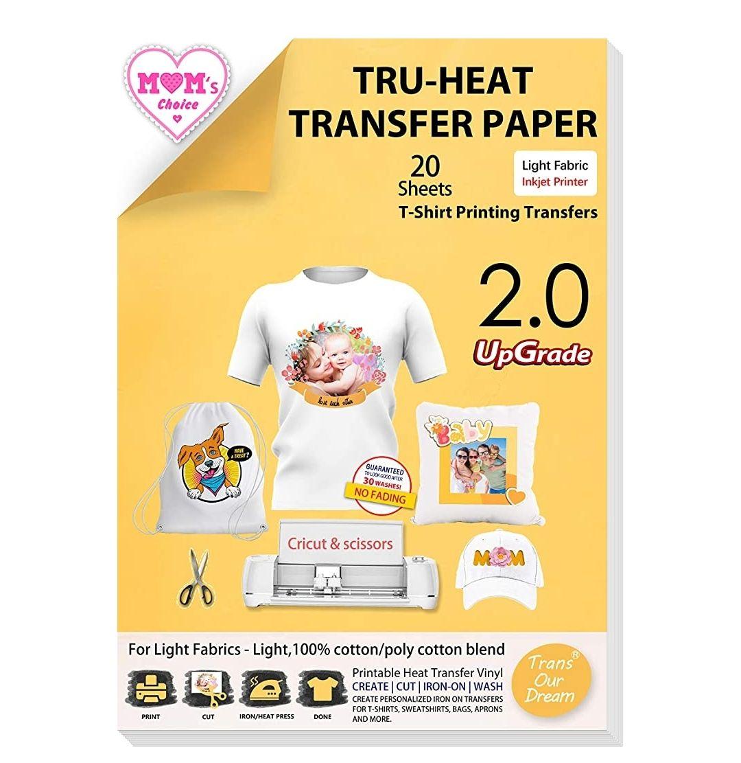 Papel de Transferencia Térmica Para Camisetas Blancas y Tejidos Claros(A4x20 Hojas)Compatible con Impresoras de Inyección