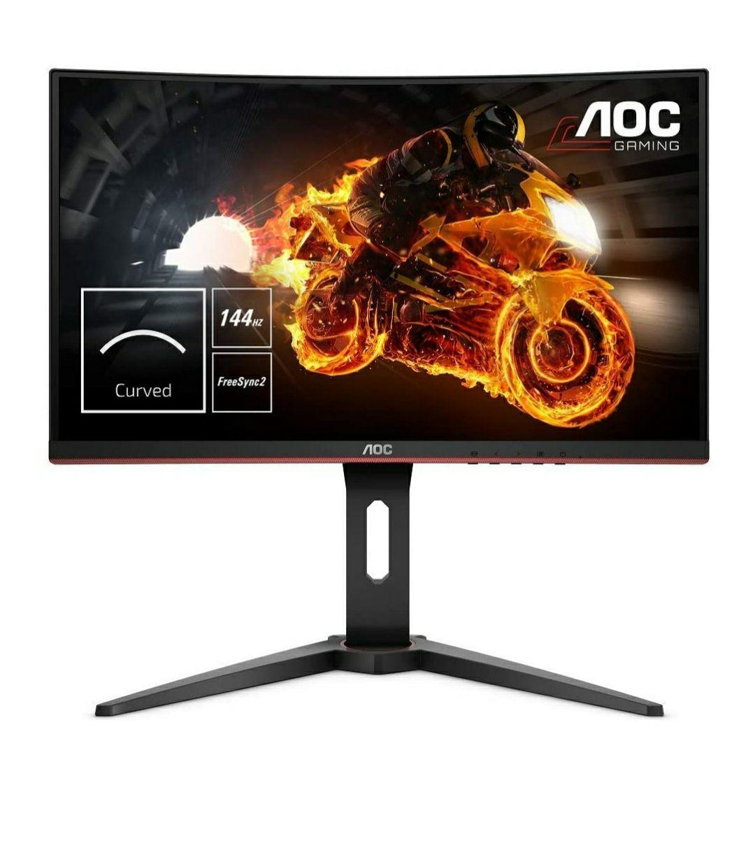 "Monitor - AOC C24G1 24"" Full HD, Curvo, 1 ms, 144 Hz, LED, Flicker Free, FreeSync, Negro/Rojo"