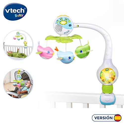 Móvil Pío Pío, melodías, proyector de bebe para cuna o para fijar en silla de paseo y portabebés, multicolor