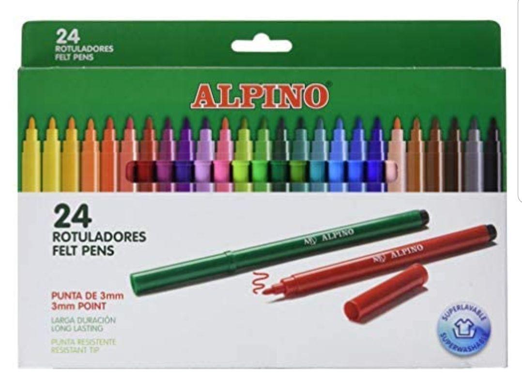 Rotuladores Alpino Coloring para Niños - Estuche de 24 Colores con Punta Fina 3mm - Tinta Lavable