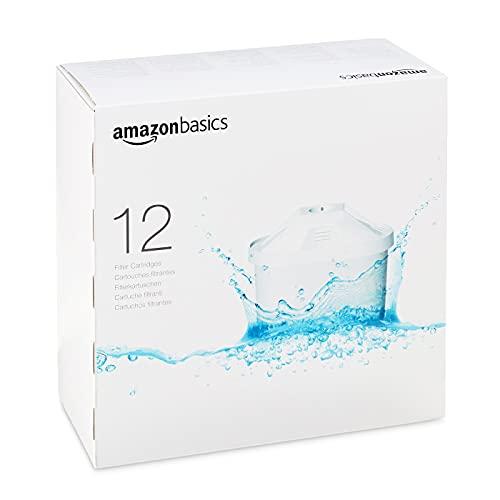 12 Cartuchos Filtrantes de Agua Amazon Basics compatibles con Jarras Brita (not Maxtra+)
