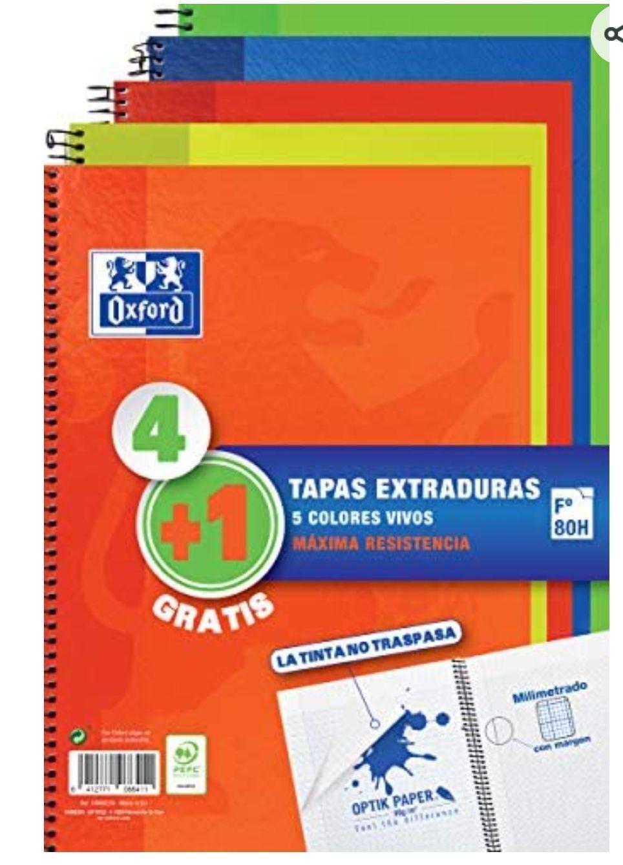 Oxford - Pack 4+1 Cuadernos Folio A4, Tapa Extradura