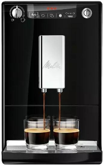 Cafetera superautomática - Melitta® Caffeo Solo, 15 bar, Molinillo integrado, Sistema extracción aromas, Negro