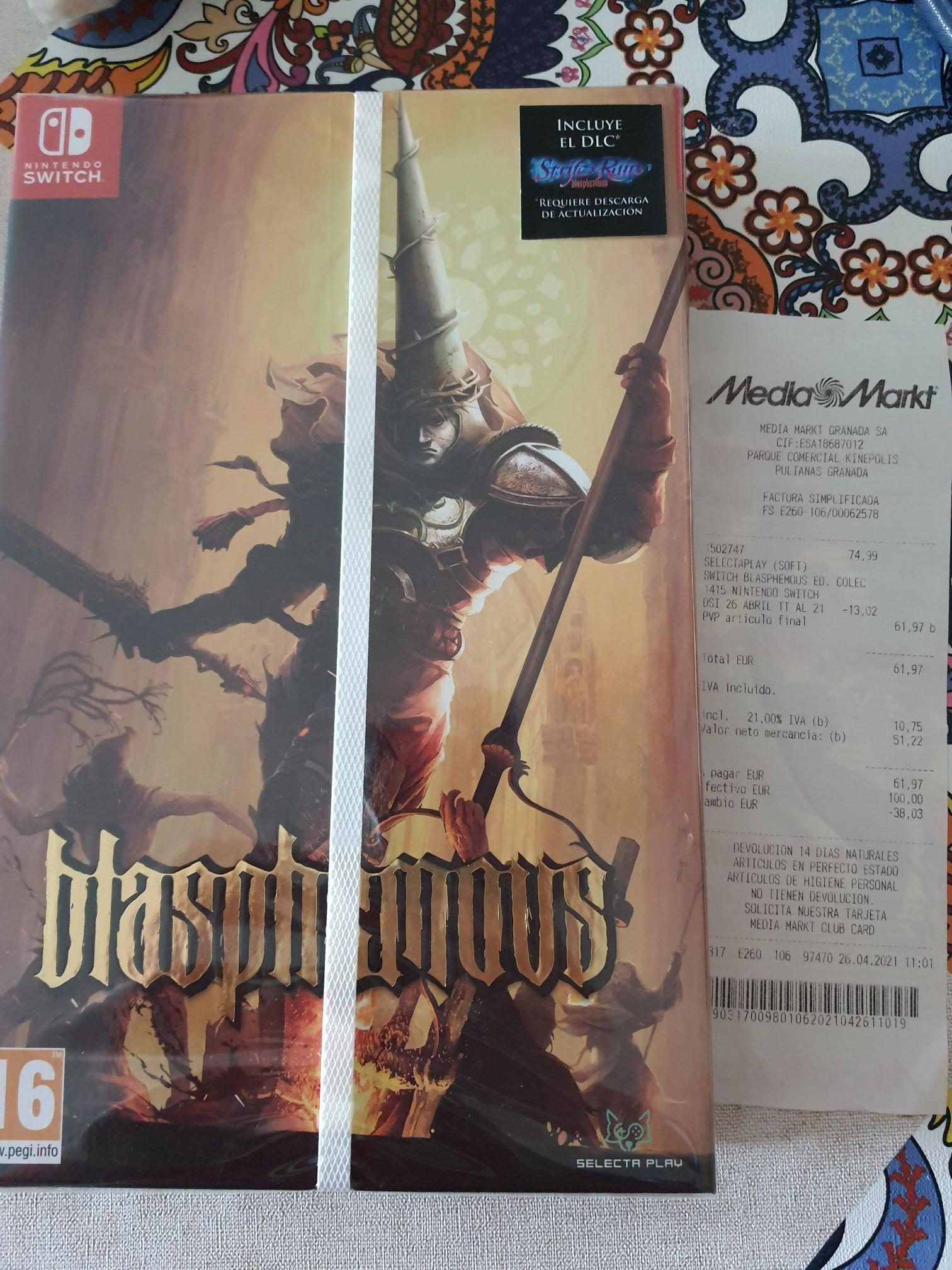 Blasphemus edición coleccionista switch mediamark Granada