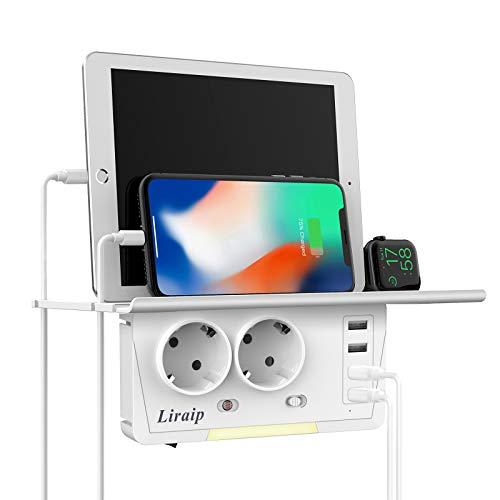 Enchufe USB, 2 Enchufes (2400w / 10a) con 4 Conexiones USB (3.1a