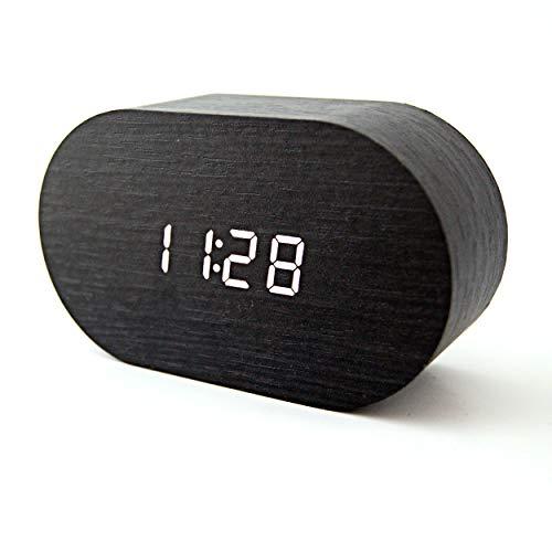 Reloj Despertador Digital Madera - Control con Sonido o Tacto