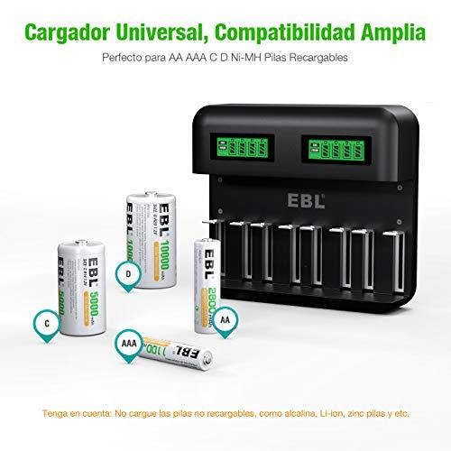 EBL LCD Cargador de Pilas Universal con Puerto Tipo C para Pilas Recargables AA AAA C D - 8 x 1100mAh AAA, 8 Ranuras