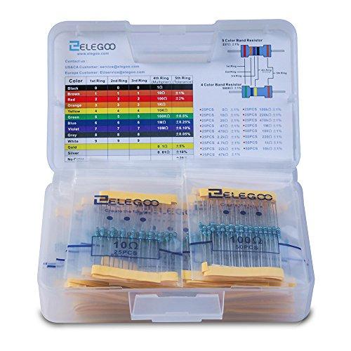 ELEGOO 17 Valores 1% Conjunto de Resistores, 0 Ohm-1M Ohm (Paquete de 525) Envío gratuito PRIME