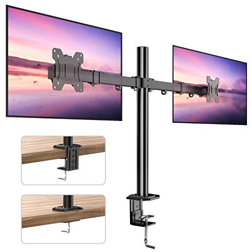 Soporte para 2 Monitores, Totalmente Ajustable para Dos Pantallas LCD LED de Tamaño Desde 13 a 27 Pulgadas, 2 Opciones de Montaje, VESA