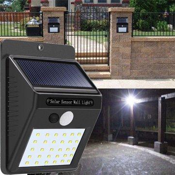 Solar Power 30 LED PIR Motion Sensor Wall Light Impermeable