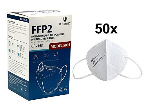 50 Mascarillas FFP2 Blancas Homologadas CE 2163 (0,29€ c/u)