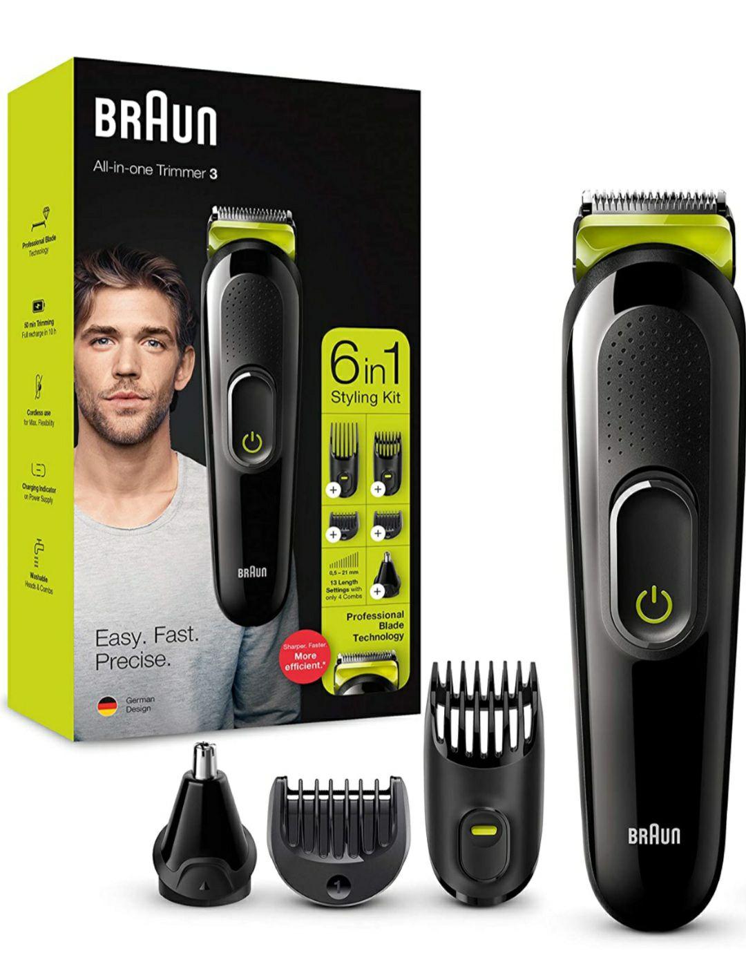 Braun Recortadora MGK3221 6 en 1, Máquina recortadora barba, cortapelos, recortadora facial, nariz y orejas, verde, Maquina cortar pelo