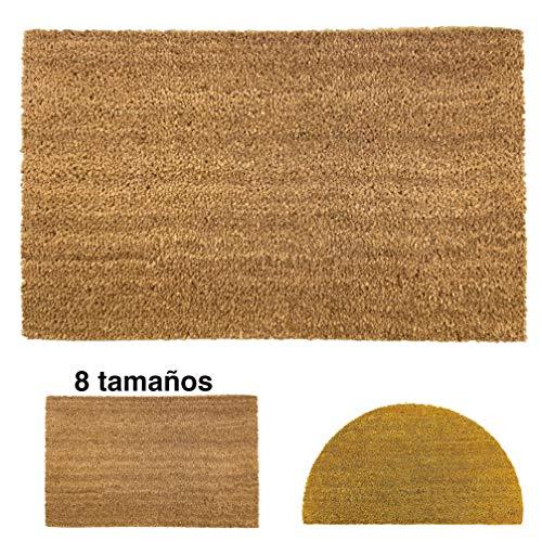 Felpudo de Coco Natural 40x70 con Base Antideslizante, Felpudo de Coco Liso. Felpudo Absorbente Entrada casa, Ideal para Puerta Exterior