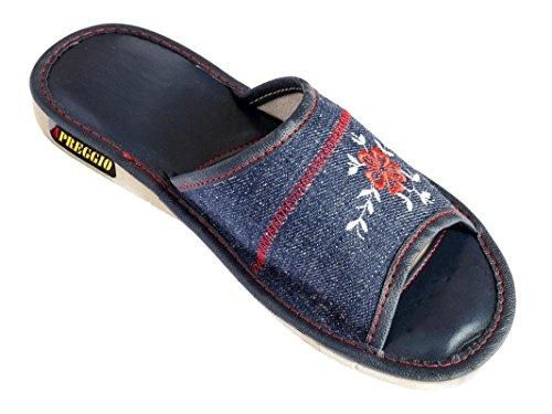 Apreggio Zapatillas Mujer De Jeans Hechas a Mano con Suela De Goma Cómodo con Estilo (Azul