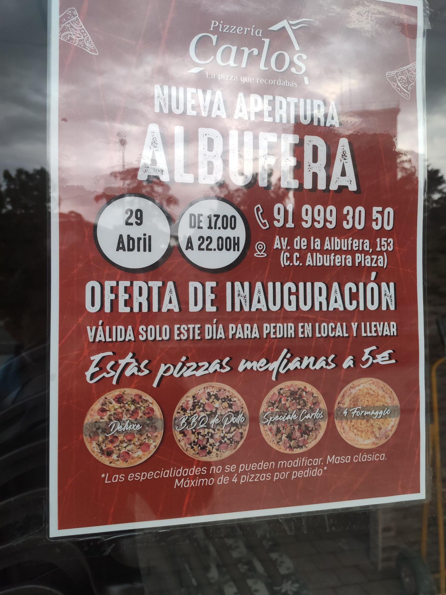 29 Abril Inauguración Pizzería Carlos Vallecas (Madrid)