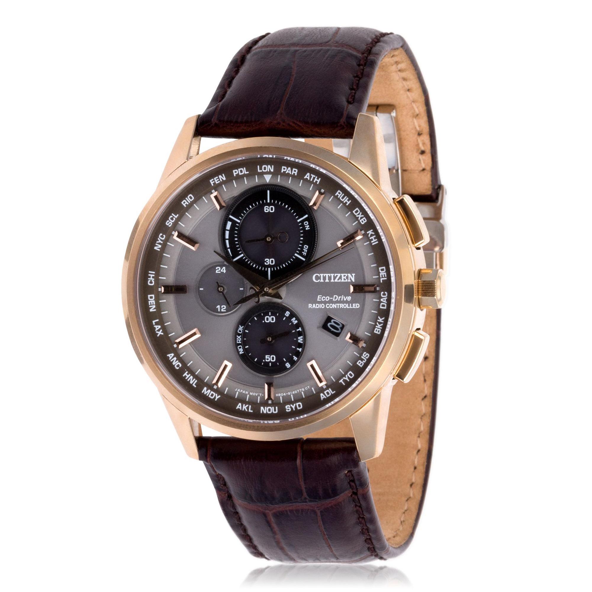 Reloj cronógrafo Eco Drive H804 Radiocontrolado - piel marrón - Ø: 43 mm