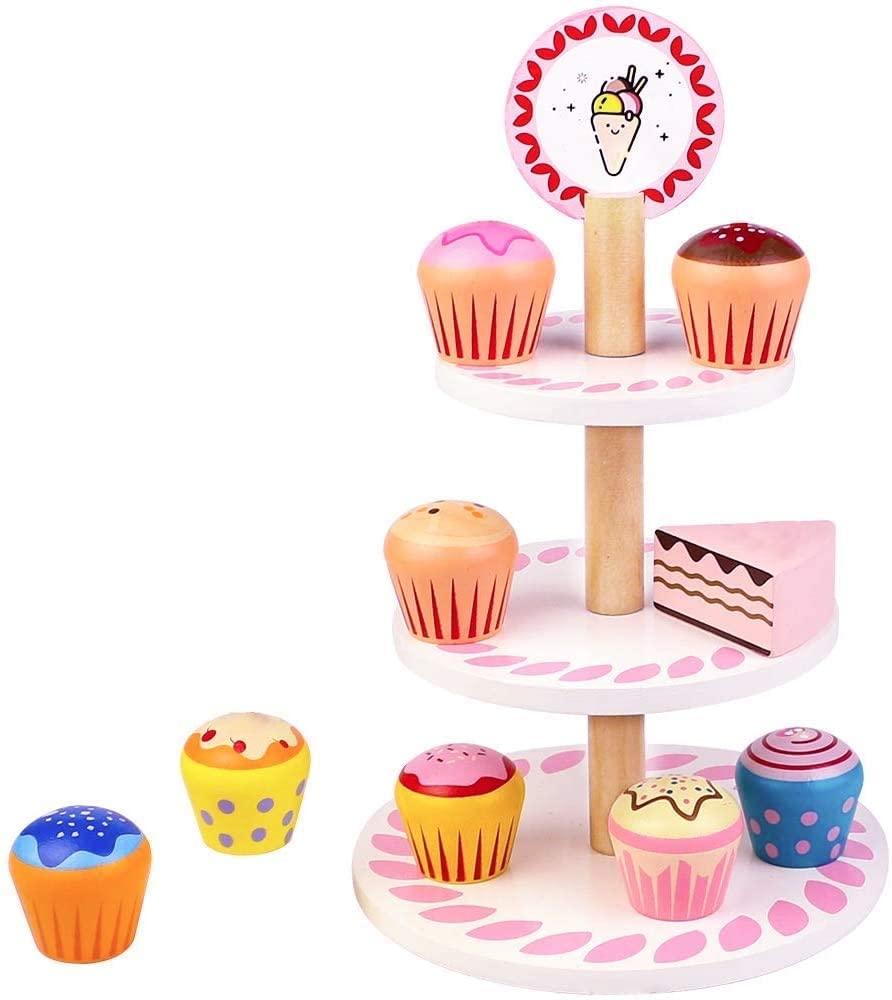 Juguete expositor y cupcakes de madera al 50% con cupón al tramitar