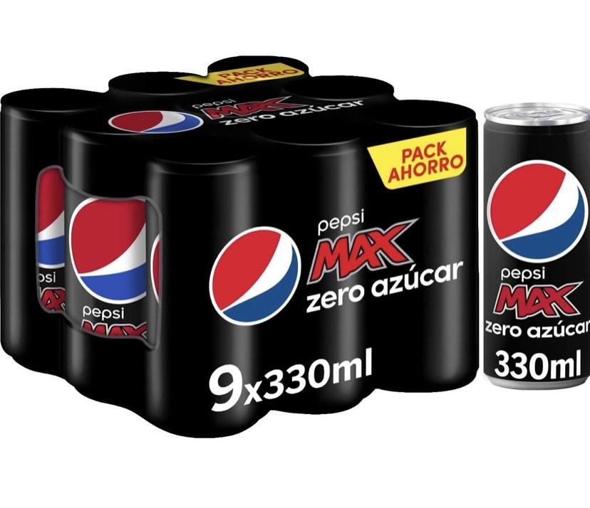 Pepsi Max 330ml - Refresco de Cola con Zero Azúcar, Pack de 9
