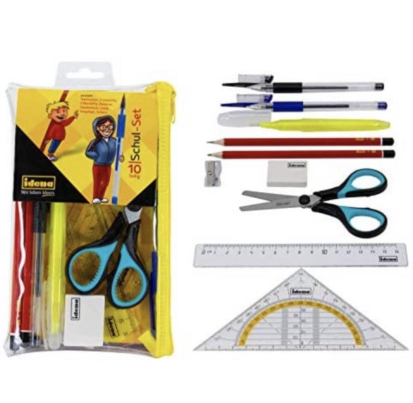 Set Escolar con lápices, Regla, bolígrafos de Gel, escuadra, Tijeras y Otros Accesorios (10 Piezas