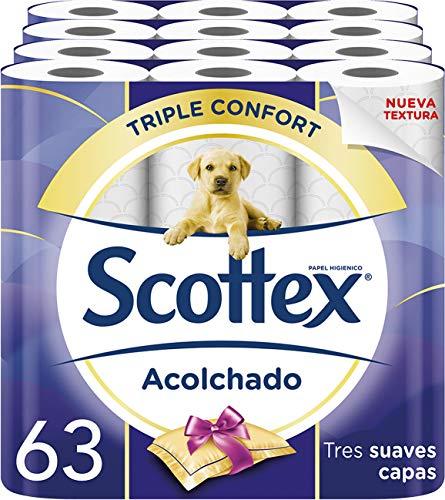 189 rollos Scottex Acolchado Papel Higiénico (Cada paquete de 63 a 14,89€ (rollo a 0,23€))