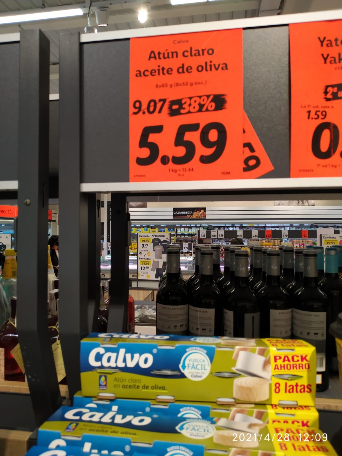 Atún claro Calvo en aceite de oliva Pack de 8. Lidl