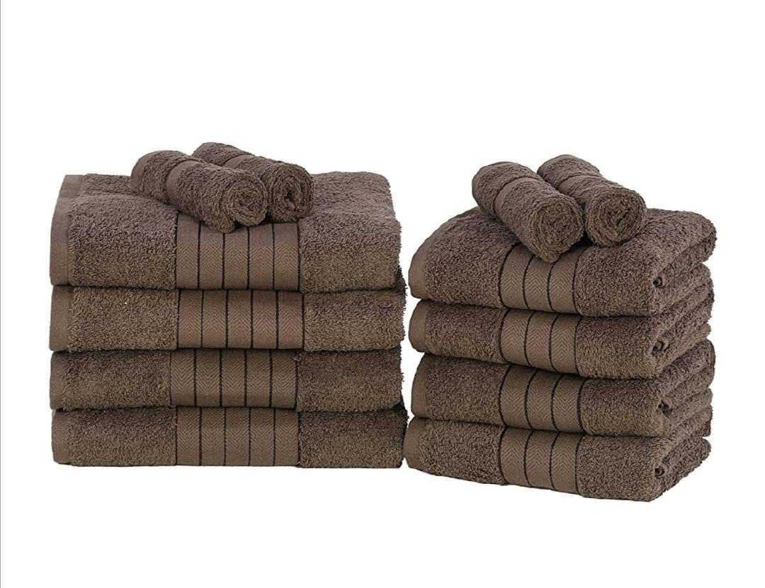 Juego 12 toallas de algodón color chocolate (500g/m2)