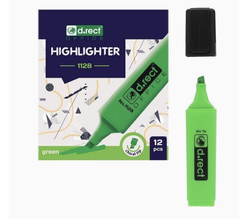 Rotuladores fluorescentes con punta biselada, 12 unidades, color verde