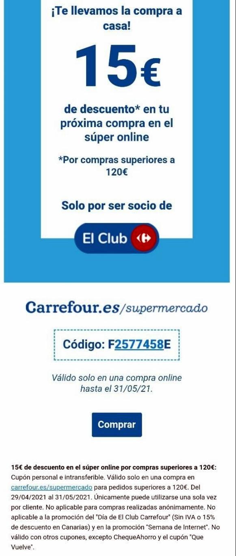 15 € DE DESCUENTO EN COMPRAS SUPERIORES A 120, CARREFOUR SUPERMERCADO.