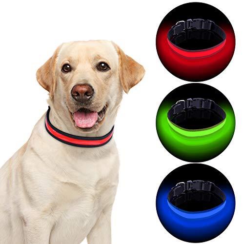 Collar LED de Perro ,USB Recargable, Seguro 3 Modos,Longitud Ajustable.