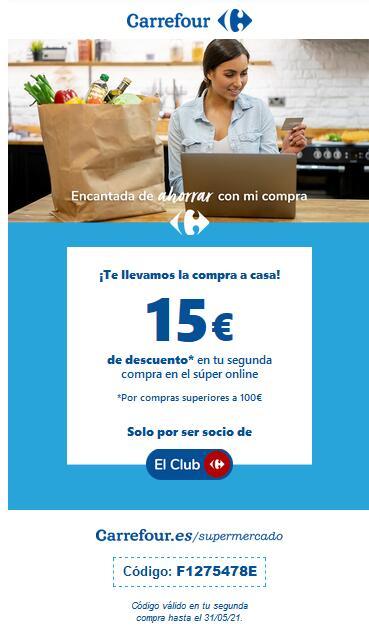 15 € de descuento en Supermercado Carrefour por compra de 100 €.