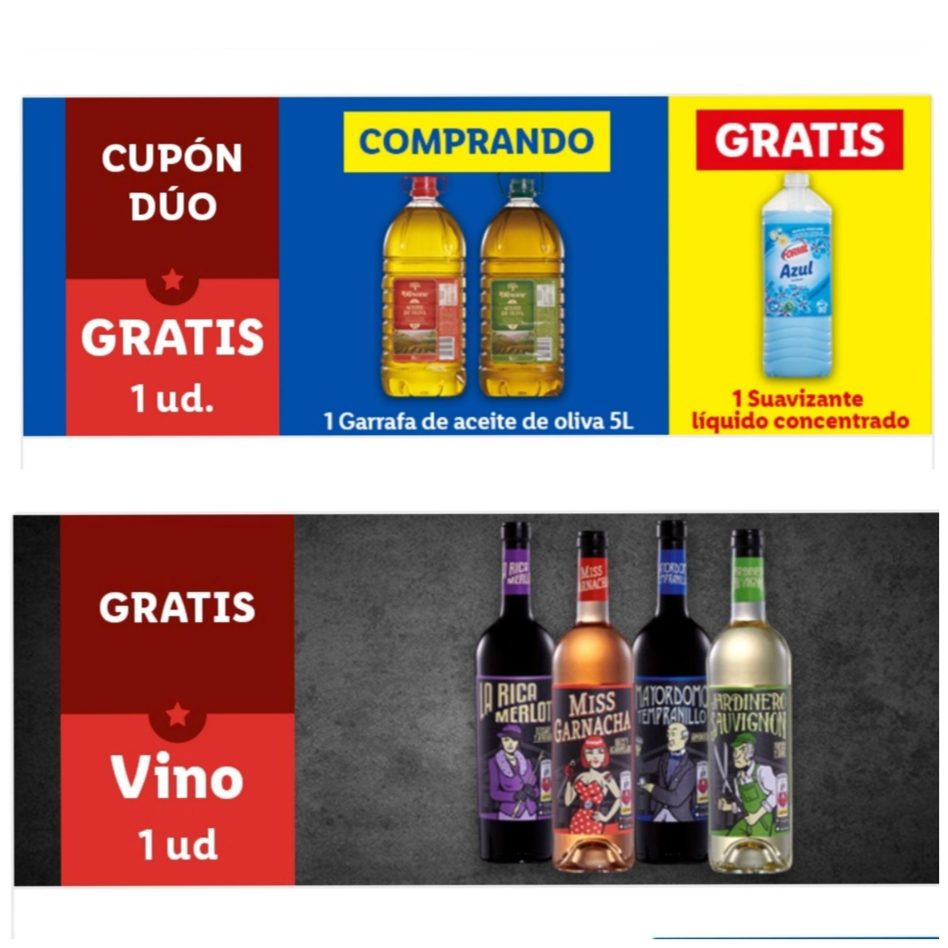 Botella vino y/o suavizante gratis por compra. App Lidl.