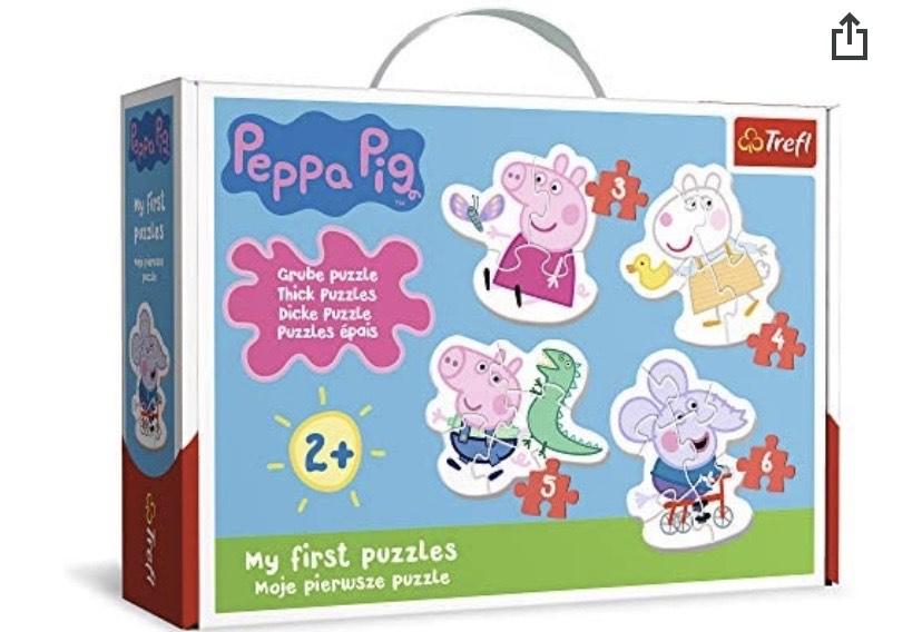 Trefl, Juego de 4 Juegos de Rompecabezas de Peppa Pig de 3 a 6 Piezas