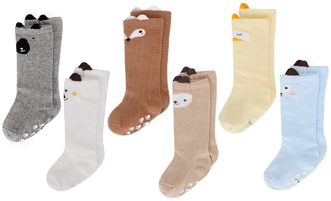 6 pares de calcetines antideslizantes para bebé - Talla 0-12 meses