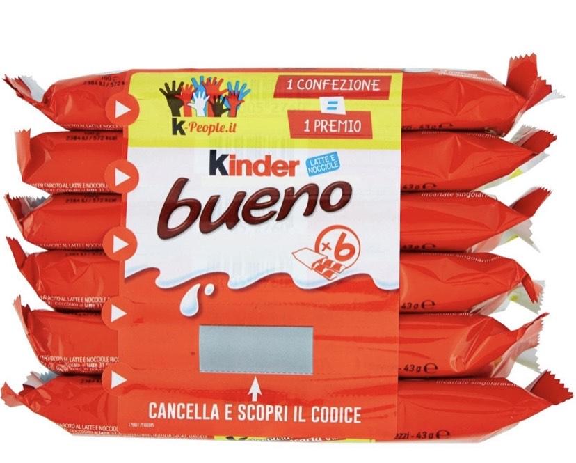 Kinder Bueno Barritas de Chocolate con Loche - Pack de 6 x 21.5 g - Total: 129 g