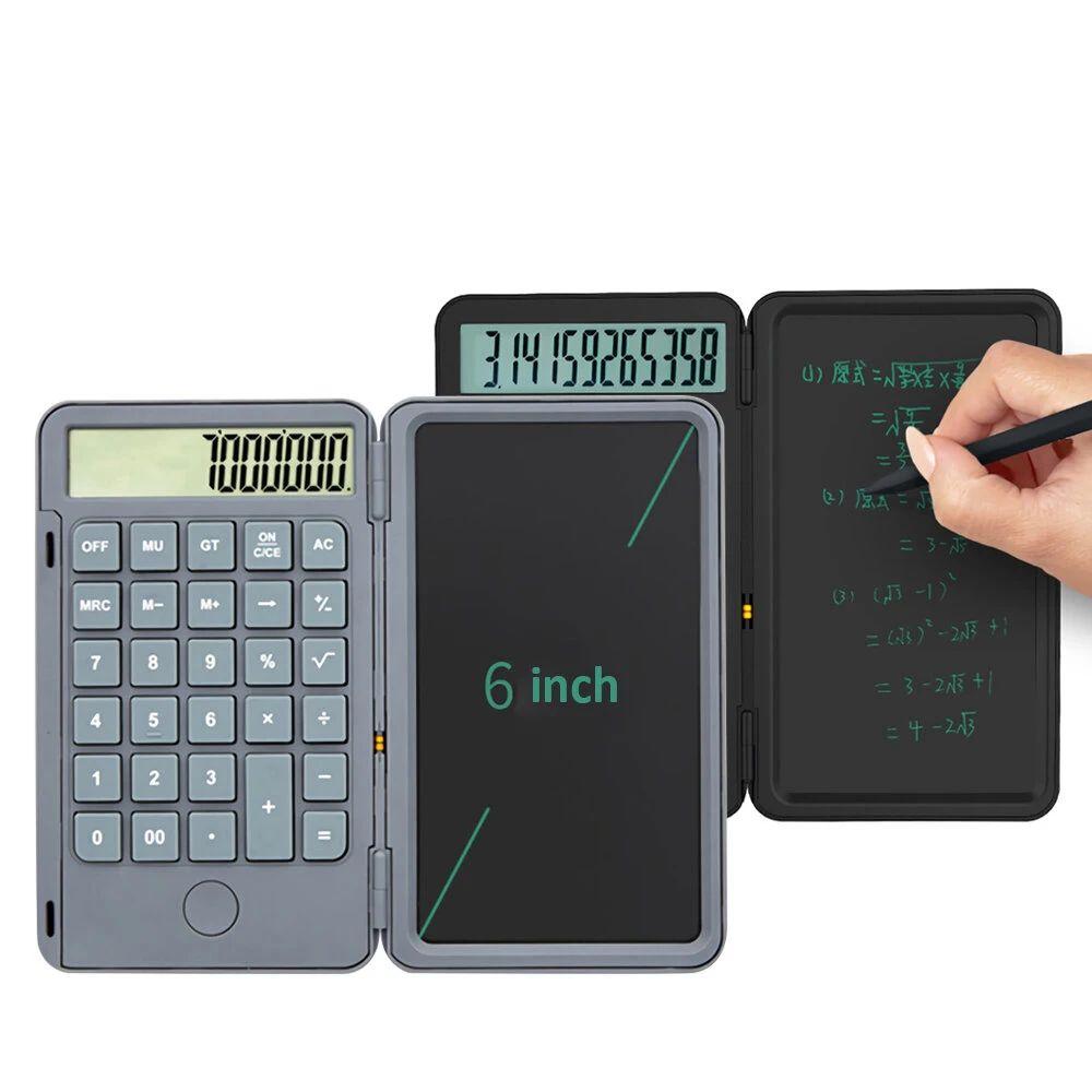 Paquete de 2 calculadoras de escritorio con pantalla LCD (escritura a mano),