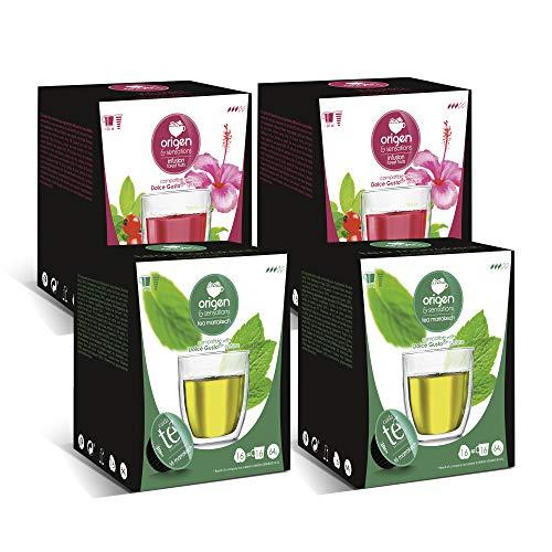 Capsulas de Té Verde y Frutos del Bosque SIN AZÚCAR. Compatibles Dolce Gusto