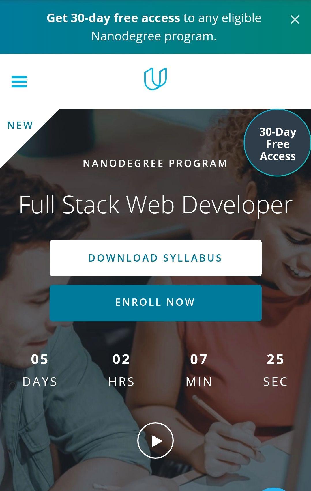 30 días de acceso gratis en Udacity