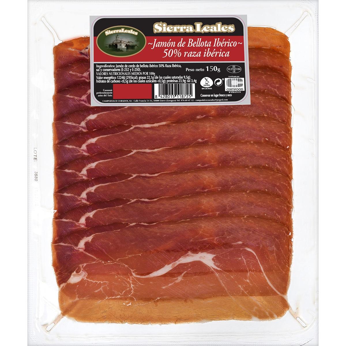 3x1 Jamón de bellota ibérico SIERRA LEALES en lonchas (150g)