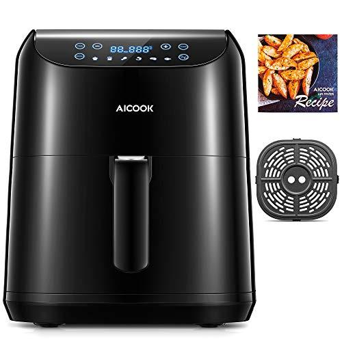 Aicook 5.5L Freidora sin Aceite (Pantalla LED Tactil), 1700W Freidora de Aire con 6 programas