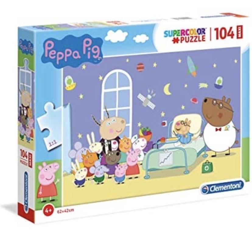 Clementoni- Supercolor Puzzle-Peppa Pig-104 Piezas Maxi,