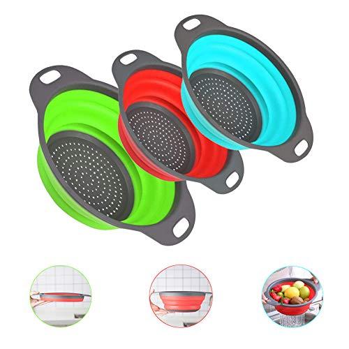 Cocina Plástico 3pcs Set Escurridor Pasta Plegable, Coladores de Silicona sin Tóxico (Azul, Rojo, Verde)