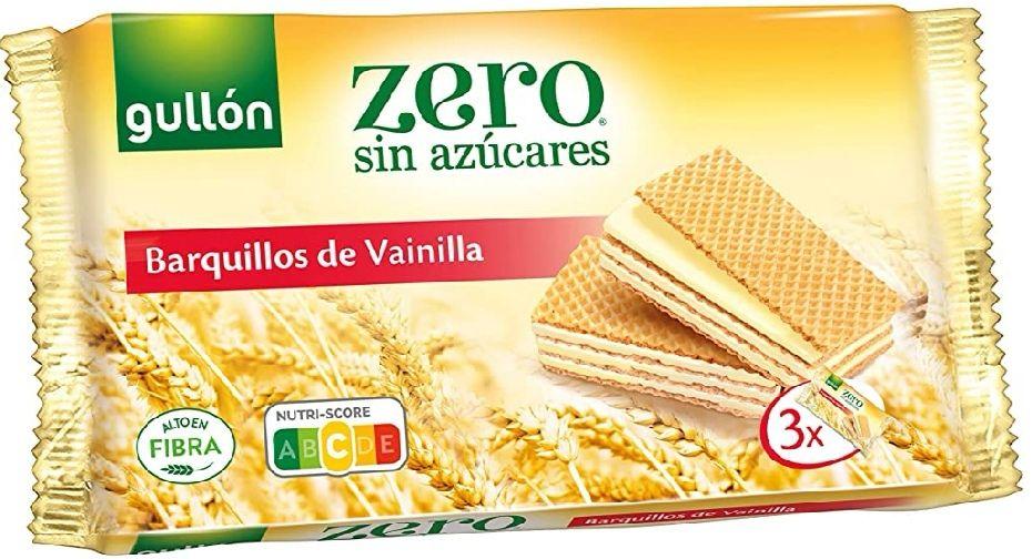 Gullón ZERO sin azúcares, Barquillos Sabor Vainilla, 180 Gramos, 3 X 60gr.