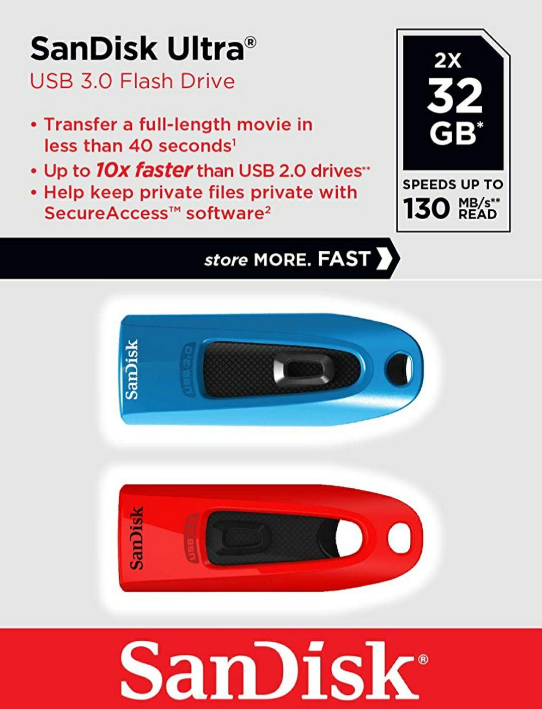 2 Unidades SanDisk Memoria Flash USB Ultra de 32 GB con USB 3.0 y hasta 100 MB/s de Lectura