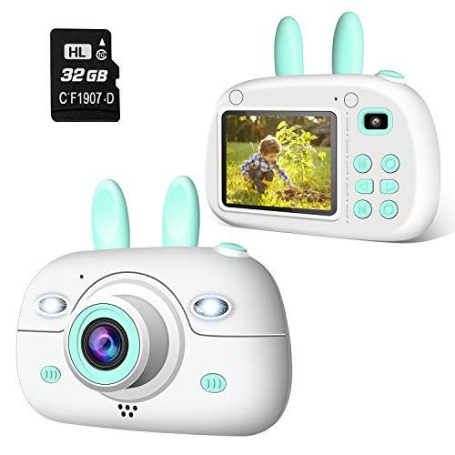 """Cámara para Niños 1080P 2.4"""" LCD Cámara de Fotos Digital para Niños con Tarjeta de Memoria Micro SD 32GB"""