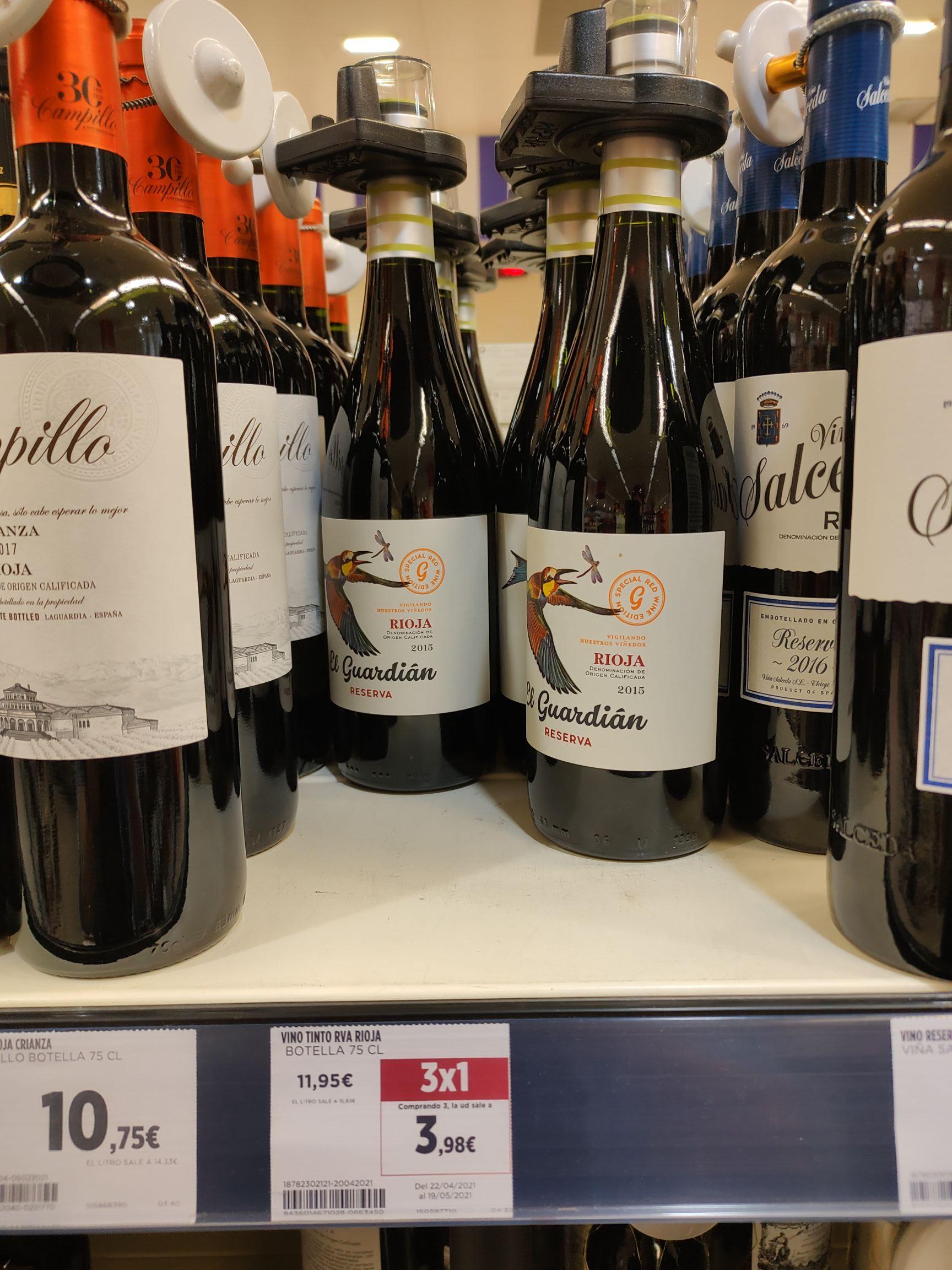 Vino Rioja reserva El Guardián 3x1 en Supercor